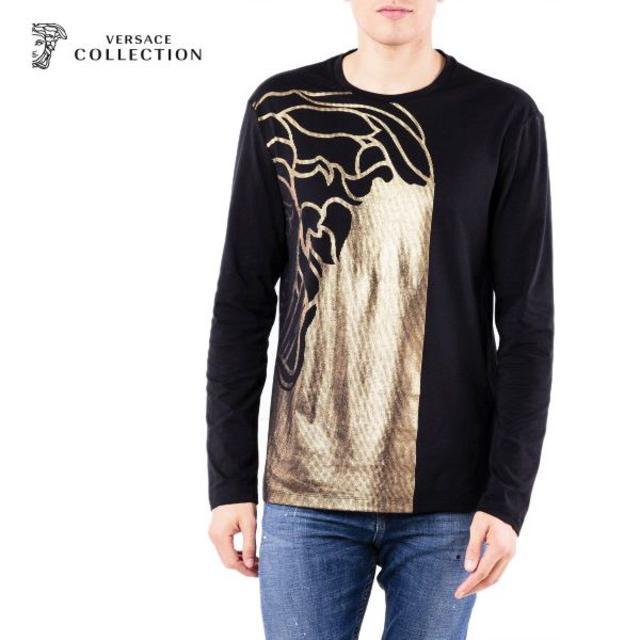 VERSACE(ヴェルサーチ)の【1】VERSACE COLLECTIONブラック×ゴールドロンT M メンズのトップス(Tシャツ/カットソー(七分/長袖))の商品写真