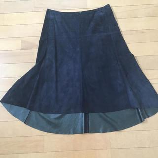 ドゥロワー(Drawer)のSS   ドゥロワー   Drawer ネイビー スエードスカート 36(ひざ丈スカート)