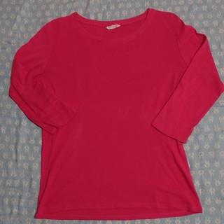 ユニクロ(UNIQLO)の【美品 UNIQLO】大きいサイズ XL ピンク 五分袖 トップス(カットソー(長袖/七分))