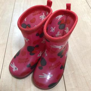 ディズニー(Disney)の長靴 女の子 ミニー柄 レインブーツ 13㎝(長靴/レインシューズ)