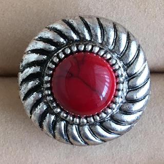 (82)赤珊瑚風 レッドトップのリング シルバー ヴィンテージ(リング(指輪))