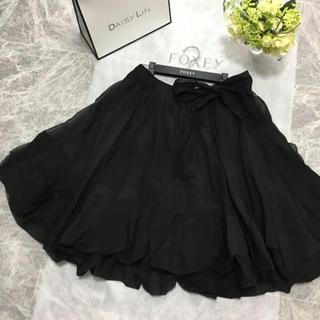 フォクシー(FOXEY)の美品 定価18万円 フォクシー FOXEY 最高級 シルク リボン スカート(ひざ丈スカート)
