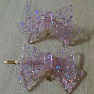 ベイビーザスターズシャインブライト(BABY,THE STARS SHINE BRIGHT)の新品 リボン型キラキラお星様ヘアピン&リング セット Baby,the star(リング(指輪))