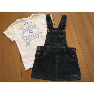 ベビーギャップ(babyGAP)の1着は欲しい!コーデ上手♡インスタ映え♡ハートボタンデニムジャンパースカート95(ワンピース)