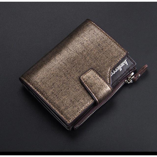 財布 二つ折り 高品質レザー 札 小銭 カード お札入れ ブラウンゴールドの通販 by りゅう's shop|ラクマ