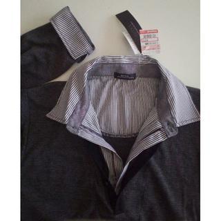 しまむら - 新品 襟付き長袖カットソー シャツ&セーター風 グレー系