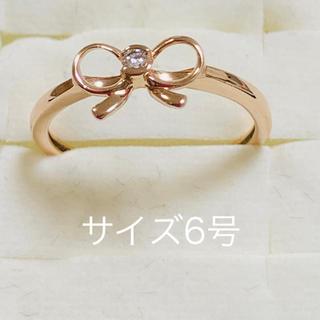 フォリフォリ(Folli Follie)の美品 フォリフォリ  リボンリング k10・ダイヤモンド0.02ct 刻印有(リング(指輪))