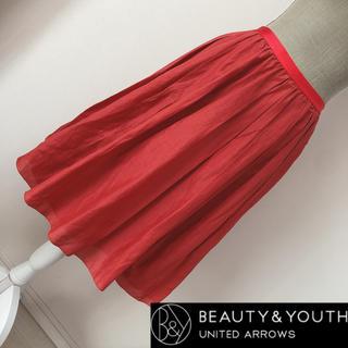 ビューティアンドユースユナイテッドアローズ(BEAUTY&YOUTH UNITED ARROWS)のユナイテッドアローズ 膝丈フレアスカート 赤(ひざ丈スカート)