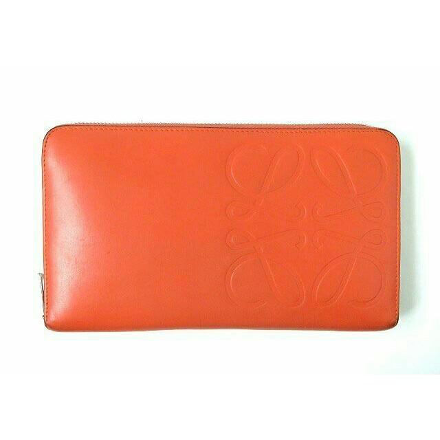 LOEWE - LOEWE レザー ラウンドファスナー ロングウォレット 長財布 オレンジの通販 by ヒトミyou's shop|ロエベならラクマ