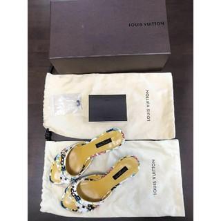 ルイヴィトン(LOUIS VUITTON)のルイヴィトン レディース サンダル ミュール 花柄パンプス 靴 37 24cm(サンダル)
