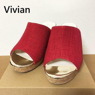 VivianオープントゥプラットフォームミュールサンダルレッドREDコルクヒール(サンダル)