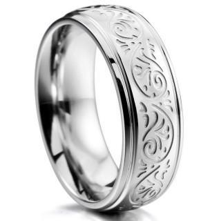 シルバー 7mm ステンレス リング 指輪 バンド 刻ま フィレンツェ(リング(指輪))
