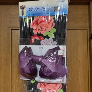 シマムラ(しまむら)のレディース  浴衣 3点セット(浴衣、帯、腰ひも)下駄なし バラ バタフライ 蝶(浴衣)