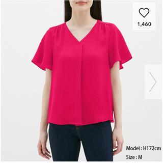 ジーユー(GU)のGU エアリーブラウス Mサイズ ピンク 新品未使用(シャツ/ブラウス(半袖/袖なし))