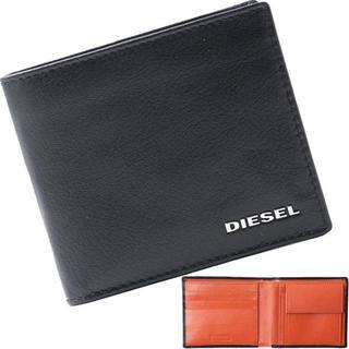 DIESEL - ディーゼル 二つ折り財布 ロゴプレート 本革 オレンジ