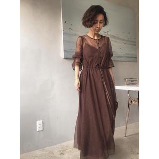 アメリヴィンテージ(Ameri VINTAGE)のTULLE SEE-THROUGH DRESS ドレス アメリ 結婚式(ロングドレス)