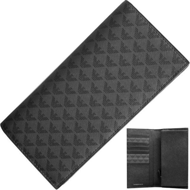 【新品】 アルマーニ 二つ折り長財布 レザー ブラック グレーの通販 by papi's shop|ラクマ