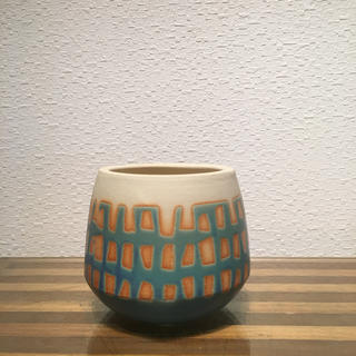 ●Trapezoid POT -Turquoise window-  No.38(花瓶)