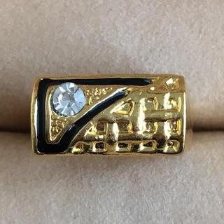 (85)一粒ビジューとブラックゴールドのリング ヴィンテージ(リング(指輪))