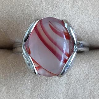 (87)縞瑪瑙? ホワイトレッドストーンリング ヴィンテージ(リング(指輪))