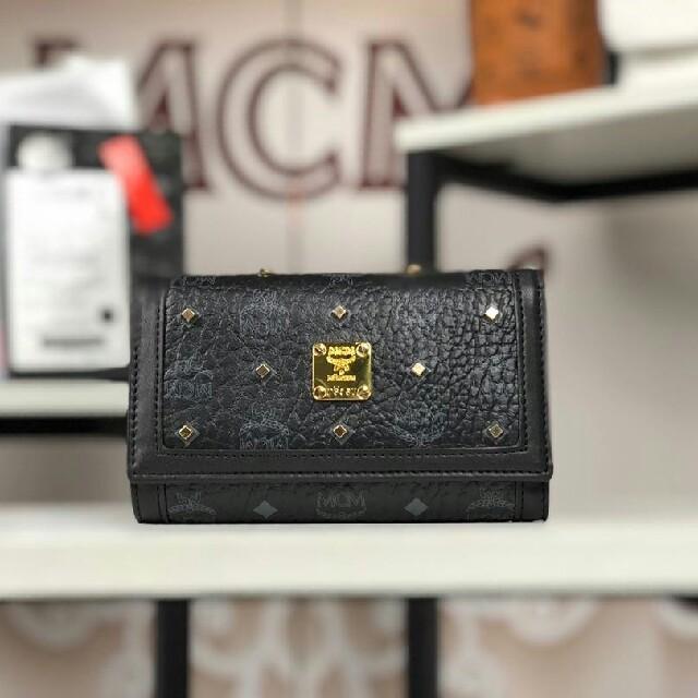MCM - 人気爆発★mcm 新作 財布 ブラックの通販 by 花も花も|エムシーエムならラクマ