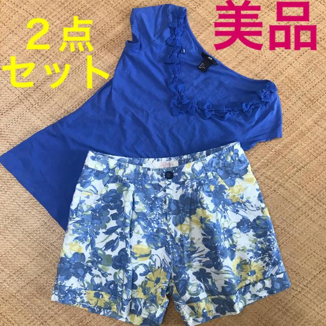 H&M(エイチアンドエム)の【美品】バックナンバー H&M カットソー ショートパンツ Tシャツ 2点セット レディースのレディース その他(セット/コーデ)の商品写真
