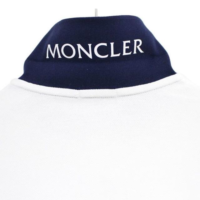 MONCLER(モンクレール)の【11】MONCLER 半袖 襟裏ロゴ ポロシャツ ホワイト L メンズのトップス(ポロシャツ)の商品写真