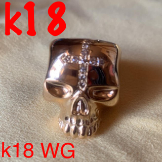 クレイジーピッグ(CRAZY PIG)のk18 WG クロス ダイヤ スカルリング 18.5号  ノーブランド(リング(指輪))