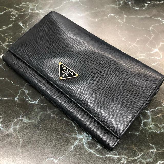 PRADA - ⭐︎ プラダ ⭐︎PRADA 二つ折り長財布 レディース ブラックの通販 by mint|プラダならラクマ