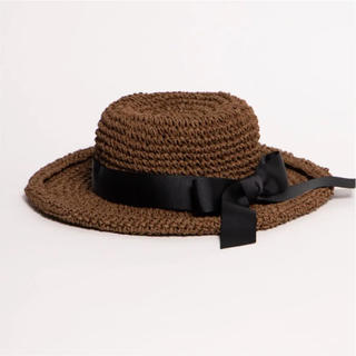 ウィゴー(WEGO)のペーパー編みリボンハット(麦わら帽子/ストローハット)