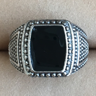 (94)オニキス風 ブラックのトップの幅広リング シルバー ヴィンテージ(リング(指輪))