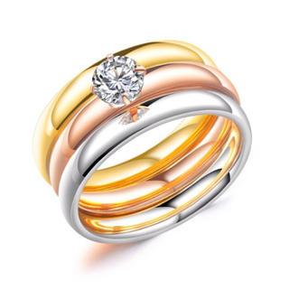 18Kピンクゴールド鍍金CZダイヤマルチカラー3連リング(リング(指輪))