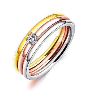 CZダイヤ四爪マルチカラー3連リング(リング(指輪))