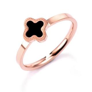 18Kピンクゴールド鍍金ブラック瑪瑙クローバーリング(リング(指輪))