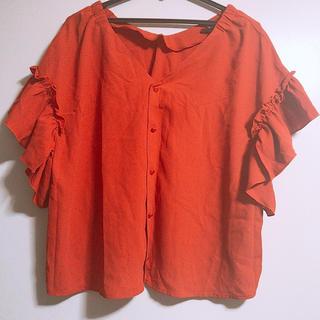 シマムラ(しまむら)のしまむら トップス 盛り袖 フレア オレンジ(カットソー(半袖/袖なし))