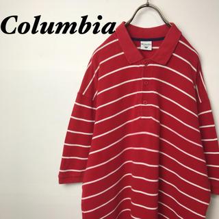 コロンビア(Columbia)の古着 Columbia コロンビア ボーダー 半袖 ポロシャツ レッド(ポロシャツ)