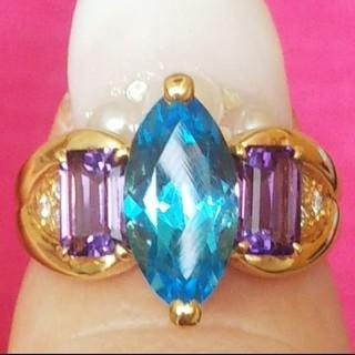 タサキ(TASAKI)のタサキ TASAKI リング ブルートパーズ アメジスト ダイヤモンド 金 指輪(リング(指輪))