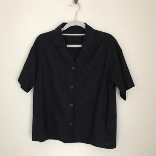 ジーユー(GU)のリネンブレンド オープンカラーシャツ  navy(シャツ/ブラウス(半袖/袖なし))