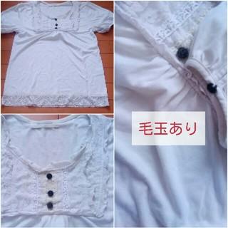 シマムラ(しまむら)の薔薇ボタン パフスリーブ カットソー 白(カットソー(半袖/袖なし))