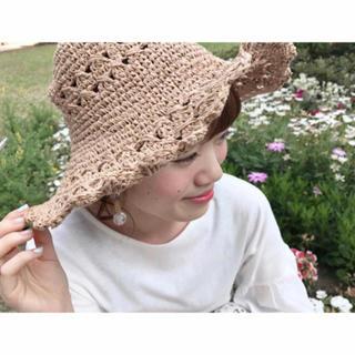 フラワー(flower)のflower scallop lace hat (麦わら帽子/ストローハット)