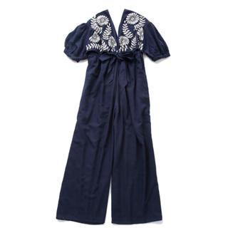 トゥデイフル(TODAYFUL)の未使用☆アベル Back ribbon pants dress / NAVY (サロペット/オーバーオール)