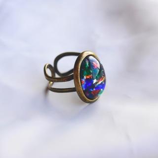 リング マルチカラーモザイクガラス(チェコスロバキア)ヴィンテージ(リング(指輪))
