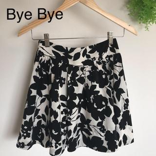 ByeBye - Bye Bye 花柄 モノトーン スカート