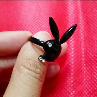 プレイボーイ風 ブラック うさぎ 指輪 リング(リング(指輪))