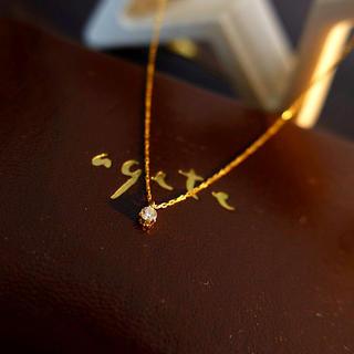 アガット(agete)のagete K18 一粒ダイヤ ネックレス お値下げしました!(ネックレス)
