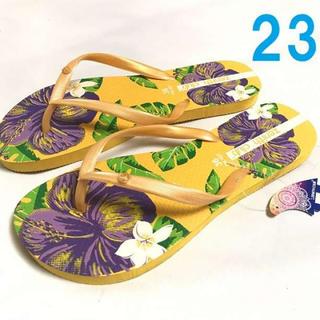 黄 23 レディース ビーチ サンダル 花柄 ハイビスカス ビーサン(サンダル)
