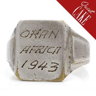稀少一点物!USA ビンテージWWII 手彫り リング ブラス ミリタリー731(リング(指輪))