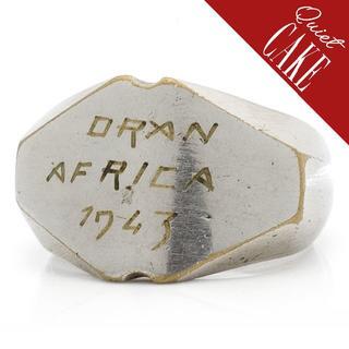稀少一点物!USA ビンテージWWII 手彫り リング ブラス ミリタリー730(リング(指輪))