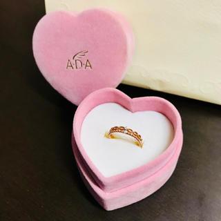 アガット(agete)の【美品】 ダイヤモンド 2石 ピンク ゴールド リング 4号(リング(指輪))