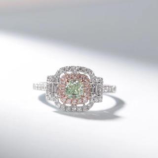 Gia付きライトグリーンイエローダイヤモンド指輪(リング(指輪))